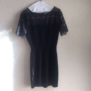 LOFT Black Knit Dress W/ Lace Sleeves